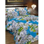 Комплект постельного белья, 1,5-сп, бязь, пододеяльник на молнии, Letto (голубой, зеленый, серый)