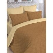Комплект постельного белья, евро, полисатин, пододеяльник на молнии, Letto (бежевый, коричневый)
